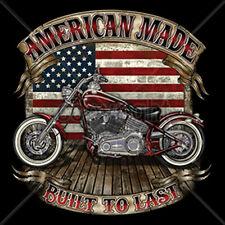 American Made Built To Last Flag Classic Motorcycle Biker Chopper T-Shirt Tee