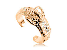 10K Solid Yellow GOLD Belt Buckle CZ Toe Ring