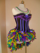 Mardi Gras Masquerade Blurlesque Showgirl Corset Feather Skirt Costume Dress SXL