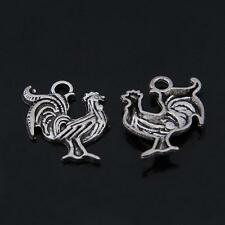 38pcs/lot Tibetan Silver Animal Charms,Alloy Metal Vintage Rooster Charm Pendant