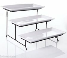 Party Serving Trays And Platters 3 Tier Collapsible Rack Stand Porcelain Plates