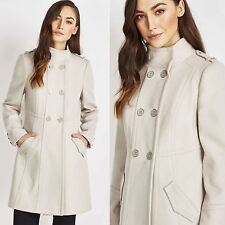Ex Wallis Winter Coat Military Style Long Warm Double Breasted Stone Size 10 14
