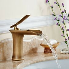 Hot and Cold Water Mixer Tap Bathroom Wash Basin Sink Tap Waterfall Brass Faucet