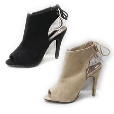 WOMENS LADIES HIGH HEEL PEEP TOE BACK TIE UP CUT OUT ANKLE BOOTS SHOES SIZE 3-8