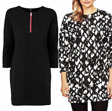 Ladies UK Size 12 - 22 Black and White or Plain Black Tunic Top or Dress