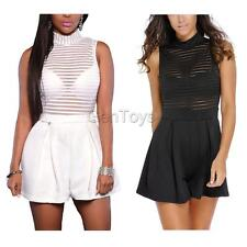 Sexy Stripe High Collar Sleeveless Perspective Party Shorts Rompers