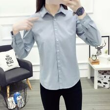 New Womens Ladies Lace Collar Long Sleeve Button Down Shirt Blouse Tops SML