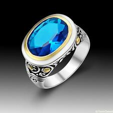 Vintage Beautiful Fashion Jewelry Blue Topaz 925 Silver Ring size 7 8 9