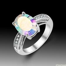 New Wedding Woman Jewelry Oval Rainbow Topaz 925 Silver Ring size 7 8 9