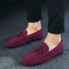 Mens tassels Loafer Slip on faux Suede Leather Boats Moccasin Driving Shoes