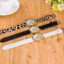 Popular Women's Cute Glasses Cat Face Analog Quartz Dial Leather Wristwatch Girl