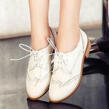 Vintage Women's Wing Tip Lace Up Brogue Oxfords College Preppy Style Shoes Plus