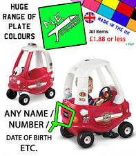 PERSONALISED Number Plate fits FIRE Little Tikes Cozy Coupe car kids ride on toy