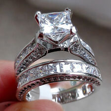 Princess Cut CZ 925 Sterling Silver White Gold Plated Wedding Ring Set Size 5-10