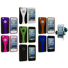For iPhone 5 5S Color Black 3-Piece Rubberized Hard Case Cover+Windshield Mount