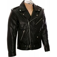 Classic BRANDO Johnny The Wild One Style Genuine Heavy Duty LEATHER Biker Jacket