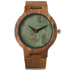 Trendy Bangle Genuine Leather Strap Nature Wood Bamboo  Men Women Wrist Watch