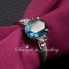 0439 18K WHITE GOLD GP Womens Ocean BLUE SAPPHIRE RING With SWAROVSKI CRYSTAL