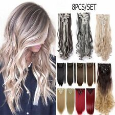 7 PIECE/SET 100% Natural Long Full Head Hair Extensions New Double Weft Clip in