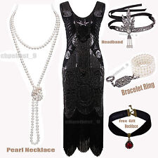 Ladies Women's 1920s Flapper Dress 20s 30s Gatsby Sequin Cocktail  Party Costume