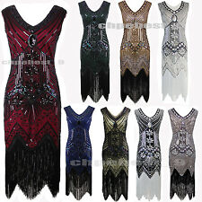 1920s Flapper Dress Gatsby 20s Sequin Beads Fringe Tassel Cocktail Party Costume