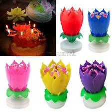 Musical Lotus Flower Candle Music Happy Birthday Candle Cake Topper Decor