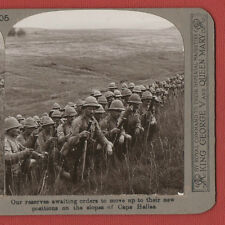 OUR RESERVES AWAITING ORDERS AT CAPE HELLES- W.W.1. VINTAGE STEREOVIEW.