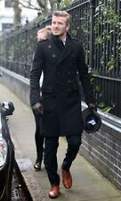 LONG DOUBLE BREASTED TRENCH MEN'S STYLISH Black OVERCOAT PEA COAT