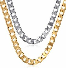 Mens Stainless Steel 24k Gold Plated Cuban Link Chain Charm Long Necklace