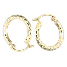 Hoop Earrings 14KT Gold Diamond Cut Hoop Earrings For Women Gift 2mm Real Gold