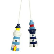 Lighthouse Light Pull - Wooden Nautical Bathroom Light Cord - Choice of Colours