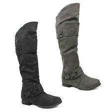 WOMENS LADIES BUCKLE FASHION LOW BLOCK HEEL KNEE HIGH BOOTS SHOES SIZE 3-8