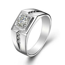 Men's Band Ring 18KGP White Gold Plated use CZ Rhinestone Crystal Size 8-10