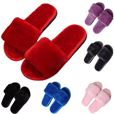 Fashion Womens Slip On Flat Farrah Rubber Slider Mules Fur Slipper Sandals Shoes