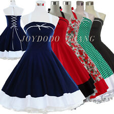 Vintage 50s 60s Polka Dot Print Floral Swing Retro Party Ball Rockabilly Dress