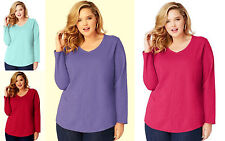 NWT Just My Size Women's Plus Long Sleeve Center-Seam V Neck Tunic Top Tee 2X-5X