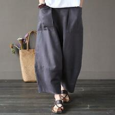 Casual Baggy Elastic Linen Cotton Women's Harem Cropped Pants Pockets Bloomers