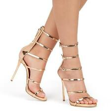 Chic Womens Buckle Peep Toe High Heels Wedding Party Shoes Mid Calf Sandals New