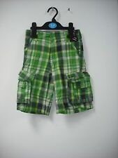 BNWT Long Combat Style Shorts. Checked Green/Blue.  Boys. Age 3-12 Years