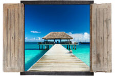 Wall Sticker Window 3D Decal Vinyl Maldives beach room decor home art