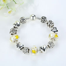 DIY European Silver Yellow Murano Beads & Crystal Love Heart Charm Bracelet