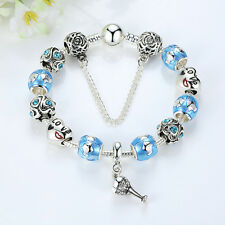 925 Silver Plated Cocktail Cup Charms Bracelet European Blue Murano Beads