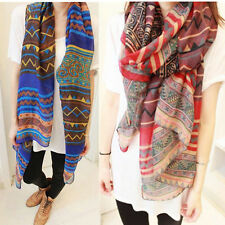 Retro Boho Women's Soft Voile Long Neck Scarf Wrap Shawl Scarves Stole Beachwear