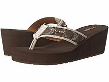 COACH~JOLENE~Women's~Signature Thongs Wedges Sandals~Brown Chalk~Size 6, 8, 9.5