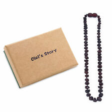 Raw Baltic Teething Necklace for Baby (Cherry Raw) - 3 Sizes - Gift Box
