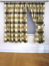 """Checkers Pencil Pleat Curtains 66x72"""" (168x183cm) Natural ALL STOCK MUST GO £10"""