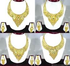 Gold Plated Necklace Earrings set with Meenawork Ethnic Indian Fashion Jewelry