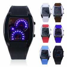 NEW Sports RPM Turbo Blue Flash LED Car Speed Meter Dial Men Gift Watch !S