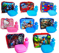 NEW KIDS INSULATED LUNCH BOX SET PAW FROZEN AVENGERS MINION CARS SCHOOL BAG