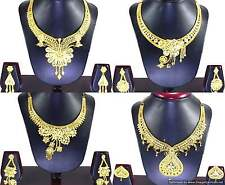 Gold Plated Necklace Earrings set Bridal Indian Fashion Jewelry Beautiful Trendy